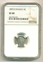 Canada Victoria 1893 Silver 5 Cents XF40 NGC