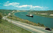 Vintage Cape Cod, Canal showing the Sagamore Bridge & SHIP, 1967 Chrome Postcard