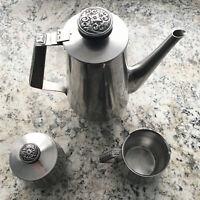 VTG International Decorator Stainless Tea 18 8 Coffee Pot Sugar Vintage - K1