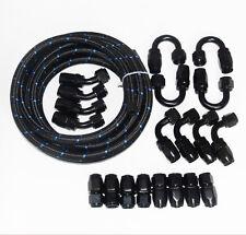 AN8 -8AN AN -8 Nylon Oil Fuel Line Hose Hose End Fitting Kit Black 10M / 32.8FT