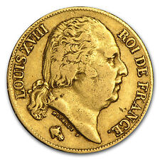 1816-1824 France Gold 20 Francs Louis XVIII Avg Circ - SKU #56796