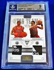 2010-11 NATIONAL TREASURES DERRICK ROSE JOAKIM NOAH ADIDAS LAUNDRY TAG /5 BGS 9