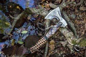 Norse Celtic Custom Handmade Damascus Steel Tomahawk Axe Throwing Viking Axe