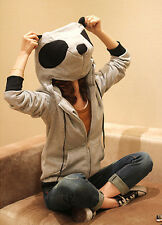 Asian Korean Womens Fashion Style Casual Panda Head Zipper Zip Up Hoodie Jacket