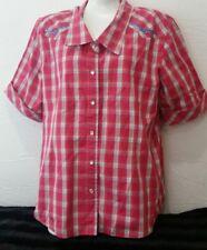 Bit & Bridle Pink Plaid Short Sleeve  Pearl Snap Shirt Top Blouse Sz Large L