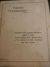Antique/Vtg Tailor's Tackmaster sewing handheld tool apparatus original manual