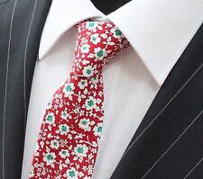 TIE CRAVATTA SLIM ROSSO Con Bianco & Verde MARGHERITA cotone di qualità t6018