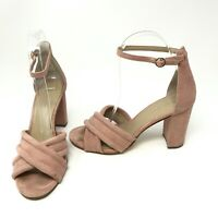 Ann Taylor Suede Blush Light Pink Open Toe Ankle Strap Sandals Block High Heels