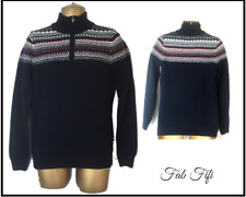 Mens Fair Isle Jumper Knitted Sweater Navy Grey Red White ~ Size Small