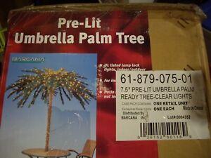 Barcana 7.5' Umbrella Palm Tree with 700 Soft White Lights