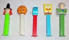Lot of 5 Pez Dispensers Halloween Witch Pumpkin Spongebob Buzz Lightyear Whistle