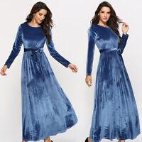 Samt Maxikleid Business Kleid Abendkleid Ballkleid Langarm Blau BC836