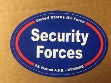 U S AIR FORCE SECURITY FORCES F. E. WARREN WY Bumper Sticker - 4 3/4 Inch OVAL