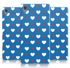 DYEFOR HEART PATTERN RED WHITE PRINT BLUE PHONE CASE COVER FOR SONY XPERIA