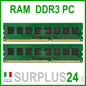 KIT RAM 8Gb (2x4Gb) PC3-10600U DDR3 1333Mhz 240pin Memoria x DESKTOP No Ecc