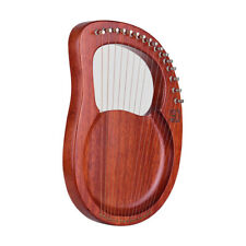 Walter.t 16-String Wooden Lyre Harp Metal Strings Mahogany Solid Wood R3D6