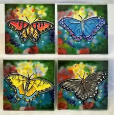 YH ARTS FOUR PIECE PORCELAIN COASTERS OR DISPLAY TILE PLAQUE SET - BUTTERFLY 551