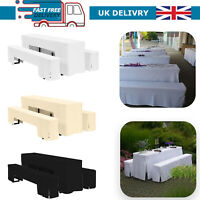 Polyester 7ft Table Cloth Cover Beer Party Events Tableware Bench Decor 3pcs
