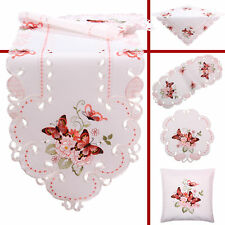 Papillon Rose Printemps Broderie Nappe Chemin de table Surnappe Napperon Blanc