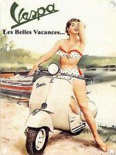 "Vespa Scooter, Italian Classic, ""Les Belles Vacances"" Novelty Fridge Magnet"