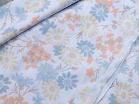 VINTAGE POLYCOTTON SINGLE BED SHEET - blue/GREY AND SOFT ORANGE FLOWERS