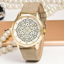 New Leather Watch Women Snowflakes Dial Ladies Quartz Dress Wrist Watch Gray AD