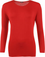 Magliette da donna rosso basica con scollo a v