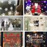 Christmas Merry Xmas Window Glass Wall Stickers Santa Claus Deers Snow Decor New
