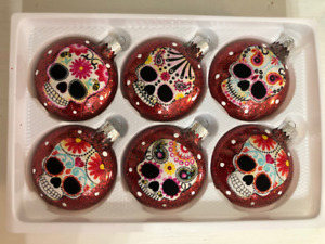 Sugar Skulls Decorated Glass Christmas Ornaments - Set of 6 Red
