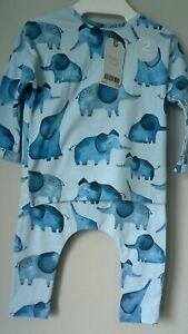 NEXT Baby Boy Pyjama Set, Blue With Elephant Prints Cotton Age 3-6 Months BNWT.