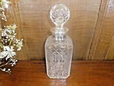 STUNNING Crystal WHISKY DECANTER HALLMARKED SOLID SILVER 1997 TOP/COLLAR/RIM