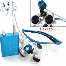 NeDental Binocular Loupes Zoom Optic Glasses magnifying lens+LED Head Light Lamp