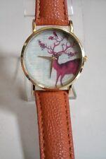 Designer inspired Animal gold finish/leather band  fashion women's watch