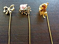 Stick / Hat Pins Lot of (3) Pieces Vintage Jewelry Coral Flower, Rose, Bow