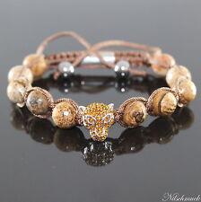 Unisex Sand Picture Jaspis Beads  Armband Leopard Edelsteine Armreif verstellbar