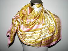 """VERSACE ATELIER 100% SILK SQUARE 35""""X35"""" PINK, WHITE&GOLD SCARF made in Italy"""
