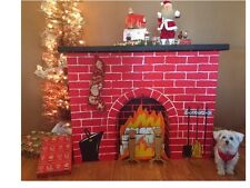 New Christmas Cardboard Fireplace Decoration Standee w Logs Flames Andirons