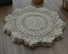 "10"" Round Crochet Lace Cream Doily French Country Ecru Wedding"
