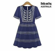 Size 10 boho peasant blue smock dress womens new