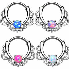 Septum Daith Rook Hinged Clicker Syntactic Opal Set Nose Ring 16 gauge