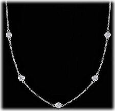 1.41 carat, Round Diamond By The Yard Necklace14k White Gold 7 x 0.20 ct each