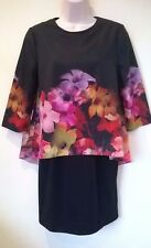 Ted Baker Black Floral Cadie Cascading Bloom Print Dress Size 1 UK 8