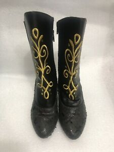 Disney's Frozen Anna Traveling Black Boots With Gold Accents Child Sz 11/12