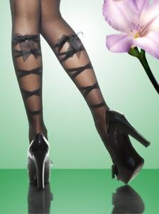Black 20 denier sheer tights with ribbon & bow ties to back Charmante Bastinda