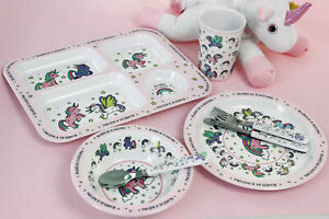 Kids Girls Unicorn Cutlery Dinner Set Mealtime Plastic Bowl Cup Plate Lunch Bag