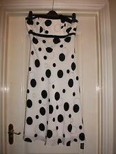 BEN DE LISI WHITE BLACK SPOT SILK EMBELLISH BEAD BANDEAU RIBBON BOW FLOATY DRESS
