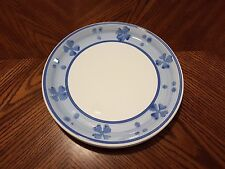 """New TRE CI Set of 2 White Blue Band Ceramic Dinner Plates 9 7/8"""" Made in Italy"""