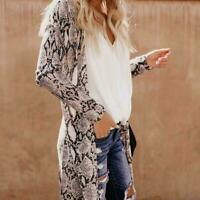 Women's Maxi Cardigan Sweater Long Sleeves Open Front Leopard Kimono Camo P L0S9