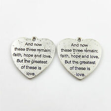 Engraved Words Love Heart Shape Jewelry Crafts Vintage Silver Alloy Pendants 10x