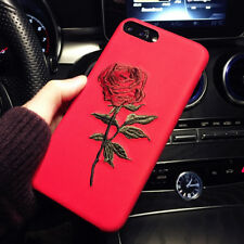1X Charms Hand Embroidery Rose Flower Hard Cover Case For iPhone 7Plus Red Color
